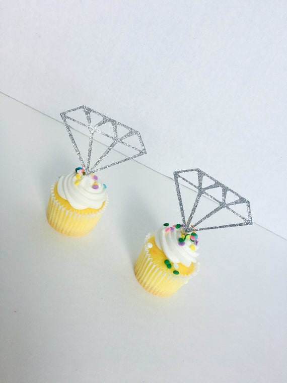 6 ~ Pink Acrylic Diamond Party CupcakeDonut Treat Toppers