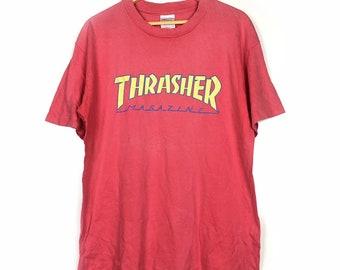 4cb73e8a805d Vtg 90 s Thrasher Magazine Skateboards Red T-Shirt Size L