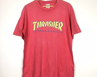 3751a82f62dc Vtg 90's Thrasher Magazine Skateboards Red T-Shirt Size L