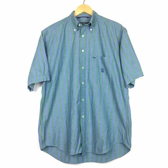 Vtg Nautica Vertical Striped Button Down Shirt Siz