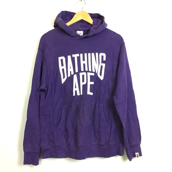 Vtg A Bathing Ape BAPE Spell Out Pull Over Hoodie Size M  8fb6f518f4f2