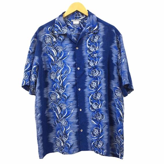 Vtg Japanese Brand Floral Aloha Hawaiian Rayon Shi