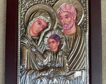 SALE original art framed drawing 15x7 religious  Icon pair