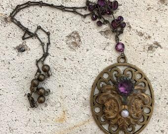 Upcycled Vintage Victorian Edwardian Inspired Antiqued Brass Faux Amethyst And Opal Pendant Necklace 1582