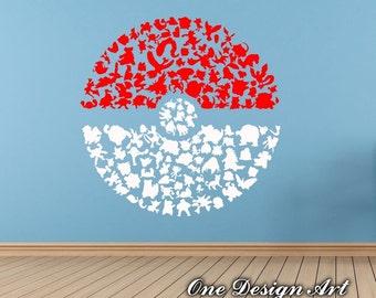 Good Huge Pokeball Poke Ball Pokemon Decal, Vinyl Sticker, Wall Decor Interior  Sticker Child Kids