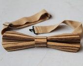 Wooden bow knot - papi (zebrano) - real wood veneer