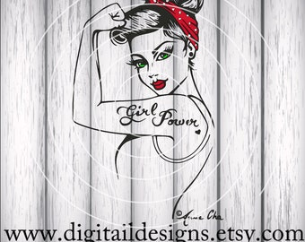 Official Girl Power SVG - eps - ai - dxf - Cut file - Silhouette - Cricut - Scan N Cut - Rosie SVG - Pin Up SVG - Rosie the Riveter
