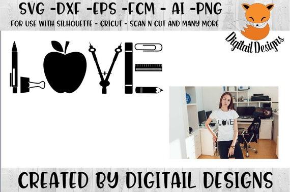 Teacher Love Svg Dxf Png Eps Ai Fcm Cut File For Etsy