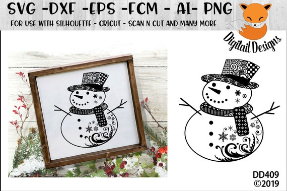 Swirl Snowman Svg Png Dxf Eps Fcm Ai Cut File For Etsy