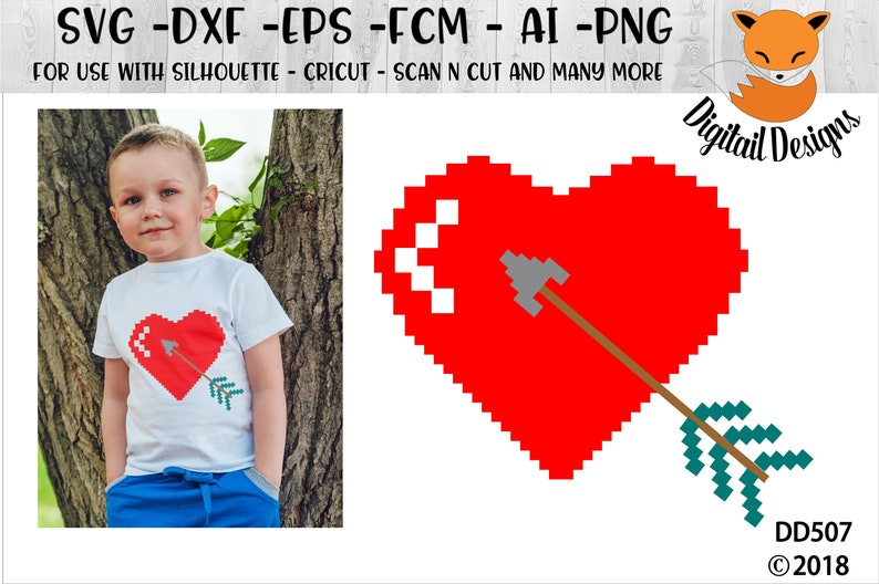 Pixelated Heart SVG - png - fcm - eps - dxf - ai Cut File - Silhouette -  Cricut - Scan n Cut - Pixelated Heart - Retro Video Game Heart SVG