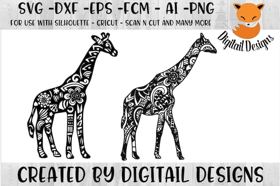 Zentangle Giraffe Svg Png Fcm Eps Dxf Ai Cut File Etsy