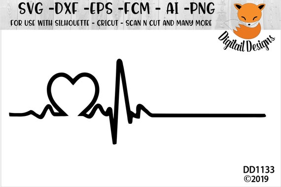 Heart Ekg Svg Png Dxf Eps Fcm Ai Cut File Etsy