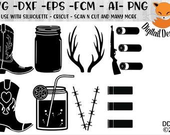 Country Love SVG png -dxf - eps - fcm - ai - Cut File - Silhouette -Cricut - Scan n Cut  - Hunting Love -  Mason Jar SVG - Cowboy Boot SVG