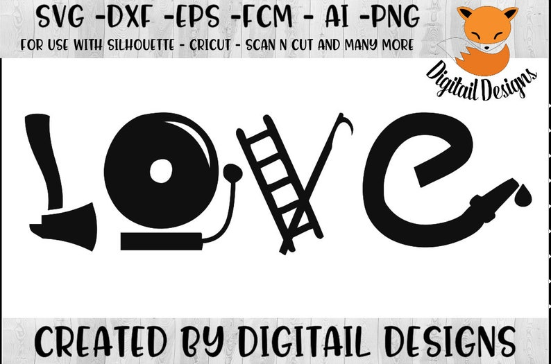 Download Firefighter Love Word Art Svg Png Dxf Fcm Eps Cut File for ...