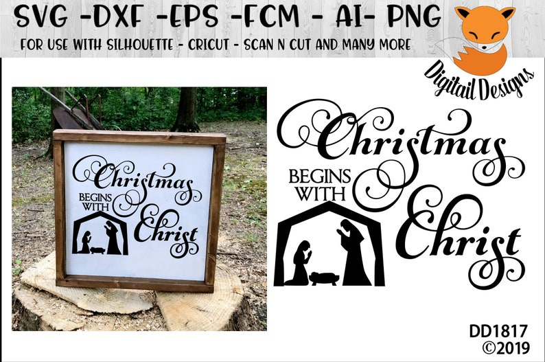 Christmas Begins With Christ Svg Png Fcm Eps Dxf Ai Etsy