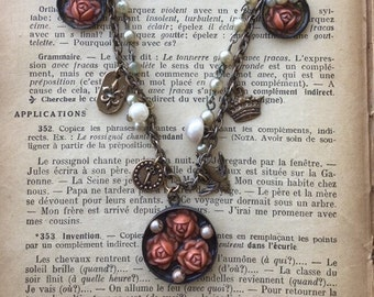 Vintage Pearl and Coral Rose Necklace