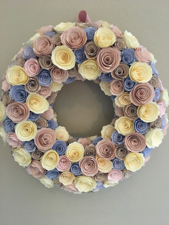 Paper Flower Wreathyellow Paper Flowersroses Paper Etsy