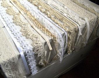 """Vintage white lace sampler, mixed pack of 12 pieces of vintage lace, ribbon, trim, 24"""" each piece, destash sewing scrapbook art trim"""