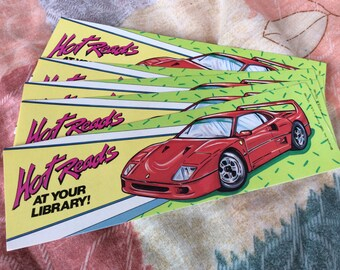 Vintage race car book mark hot reads at your library librarian book lover gift ephemera 1980s advertising 5 bookmarks hotrod car party