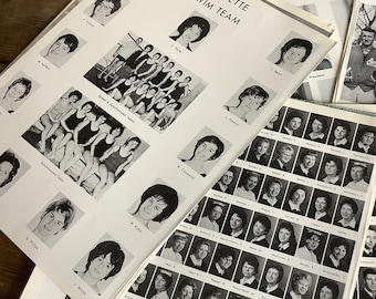 Year book photos, 25 pages of 60s vintage university black and white yearbook, for collage art junk journal. Sports teams dances parade club