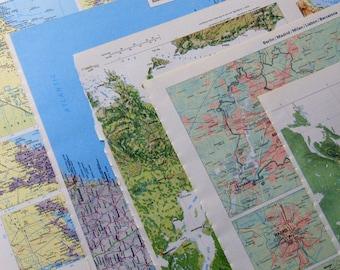 Vintage atlas maps lot, 17 pages for journals craft collage, paper junk glue book, scrapbooking, paper pack, fold envelopes, make cards