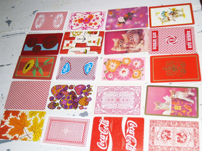 Red pink orange swap cards lot of 20 different back designs