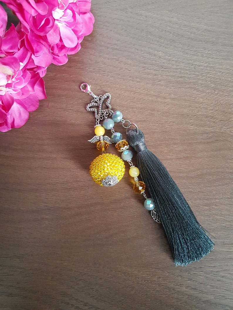 black yellow blue red Beaded tassel keychain or charms for bag with Angel green