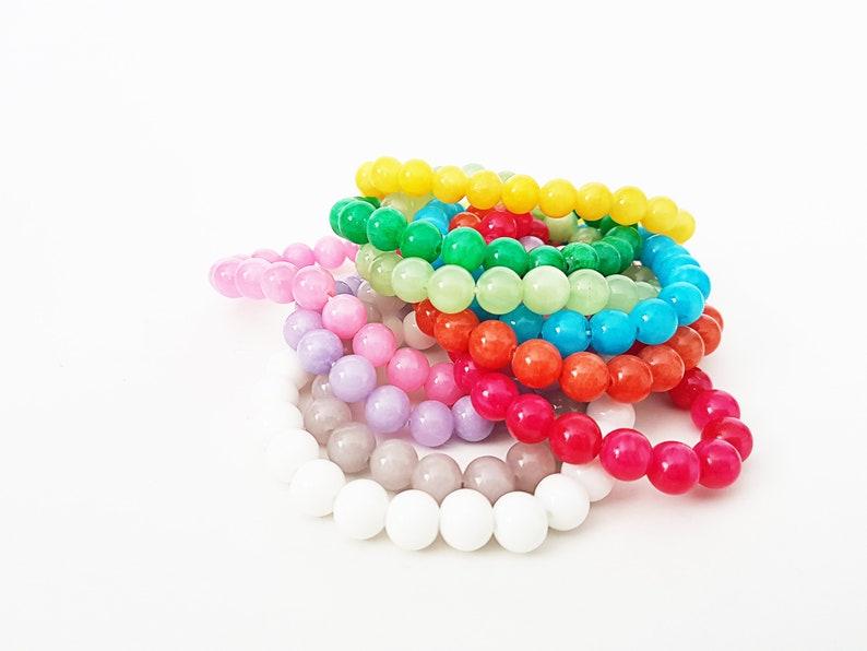 Yellow Gray Purple Orange Blue White Red Green Pink 8 mm Stretch Jade Bracelet Gift for Women