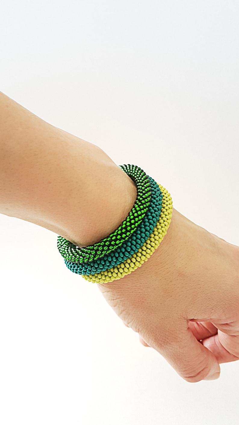 Everyday Bracelet Statement Bracelet Blue Electric Blue Greenish Blue Green Cerulean Sky Roll Beaded Crochet  Rope Bracelet