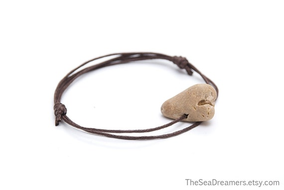 Beach Hag Stone Bracelet Brown Cord Bracelet Friendship Etsy Amethyst, diamond, emerald, opal, ruby, 18k gold, yellow gold. etsy
