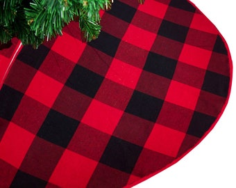 red buffalo check plaid cotton christmas tree skirt 53 round red buffalo check plaid regular scarf