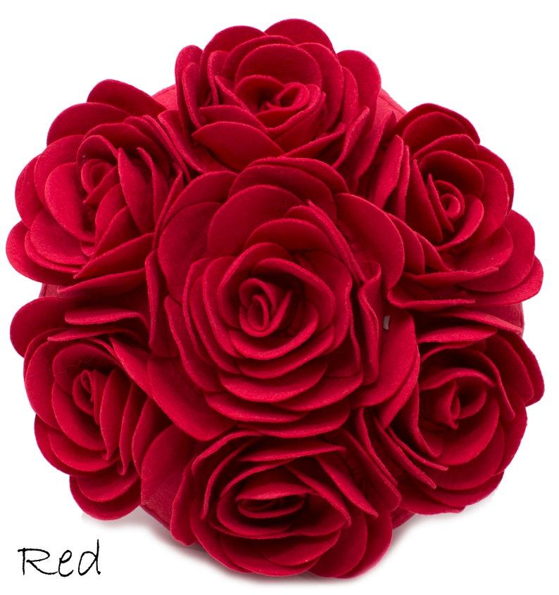 Multi Rose Motifs Felt 15-inch Round Decorative Throw Pillow Case+Insert