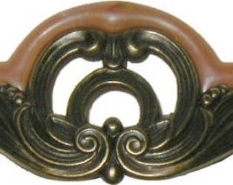 Waterfall Style Drawer Pull tortoise shell bakelite antique brass Vintage Old