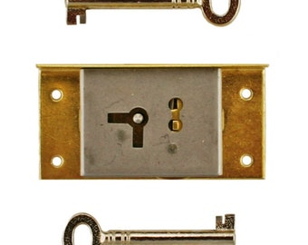 L-3B BRASS PLATED FLUSH MOUNTED LOCK TWO WAY KEYHOLE