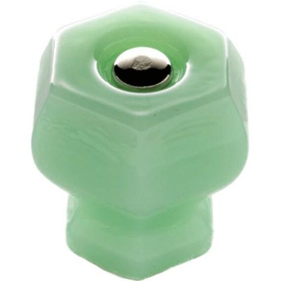 Jadeite Green Milk Glass Hexagonal Cabinet Or Drawer Knobs   Etsy