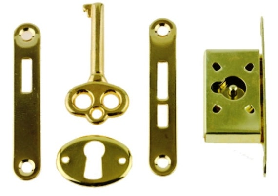 Gold Plated Full Mortise Lock Set Small Box Lock For Etsy