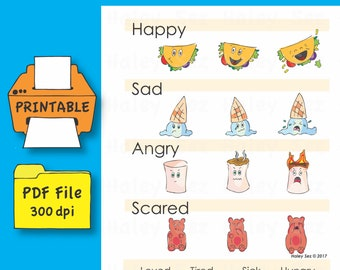 Printable My First Funny Food Feelings Chart, PDF File, Instant Download