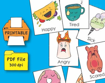 Printable My First Feelings Flash Cards, Social-Emotional Learning Tool, PDF File, Instant Download