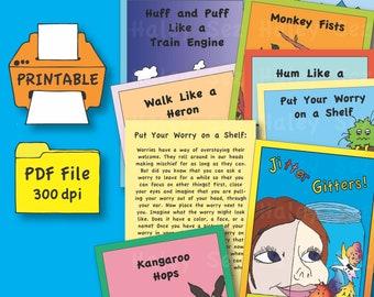 Printable Jitter Gitters, Ten Calming, Grounding, Mindfulness Exercises for Kids, PDF File, Instant Download