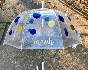 Custom Clear Dome Umbrella Monogram Personalized Birthday Gift Polka Dot Childrens Adult Gift