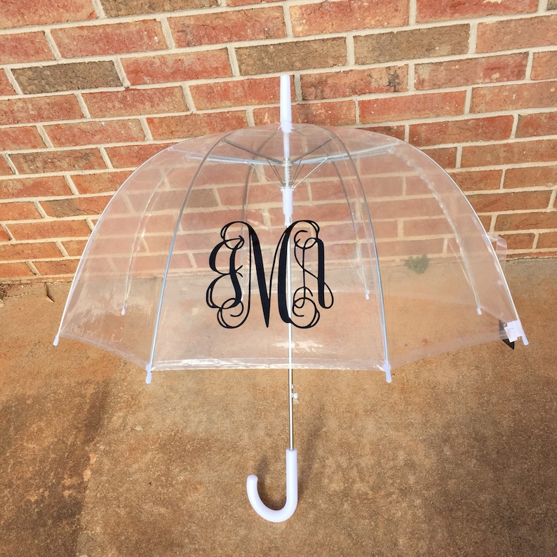 Custom Monogram Clear Umbrella Dome Monogrammed Birthday Gift image 0