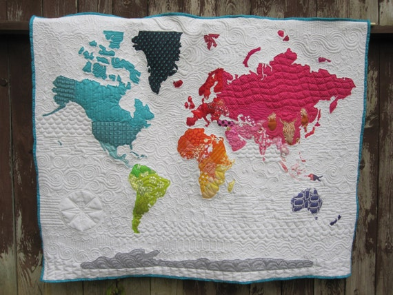 World Map Quilt the world on my wall gray vintage map quilt ...