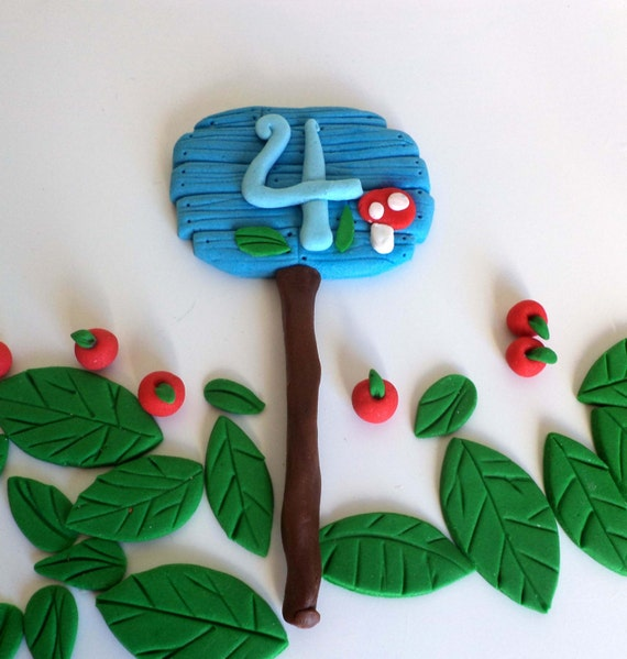 Woodland Forest Age Sign Fondant Cake Topper Edible Age Wood Etsy