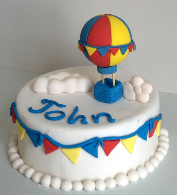 Hot Air Balloon Fondant Cake Topper With 3d Cloud And Colorful Etsy