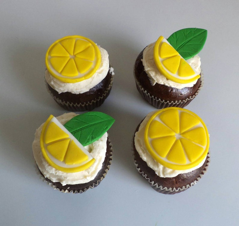 Fondant Lemon Slices and Leaves for Cupcake and Cake Toppers  83e8e37b042c