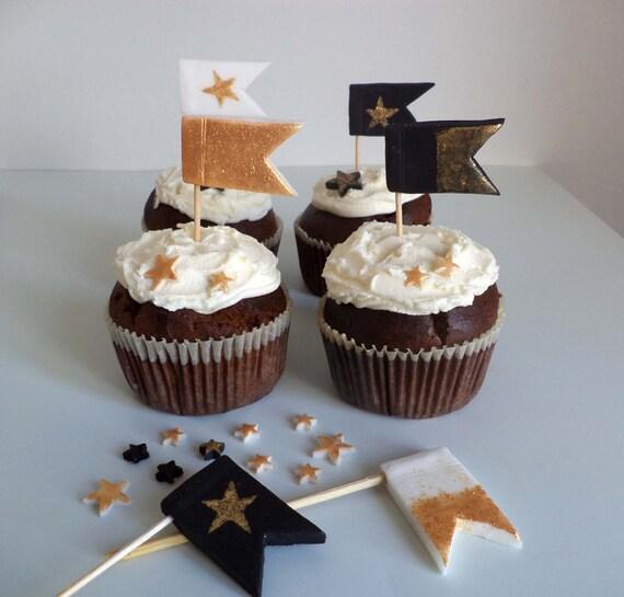 Banderas De Navidad Fondant Pastel Cupcake Toppers Oro Y Etsy