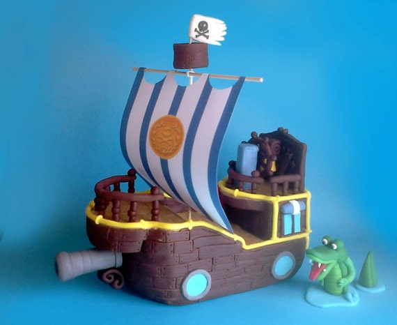 Miraculous Fondant Pirate Ship Cake Topper Bucky From Jake And Etsy Funny Birthday Cards Online Elaedamsfinfo