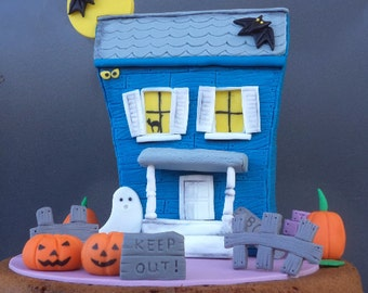 Halloween Fondant Cake Topper Blue Haunted House Under the Moon with Bats,Fence and Signs