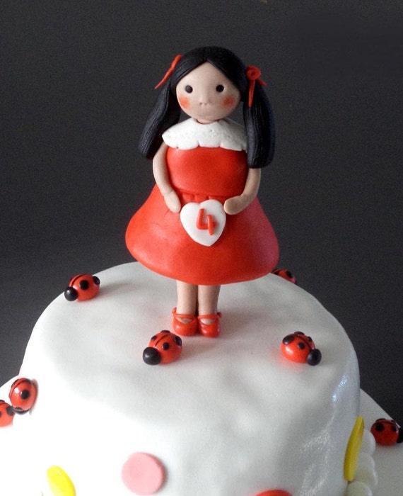 Little Girl In Red Fondant Edible Birthday Cake Topper Lady Etsy