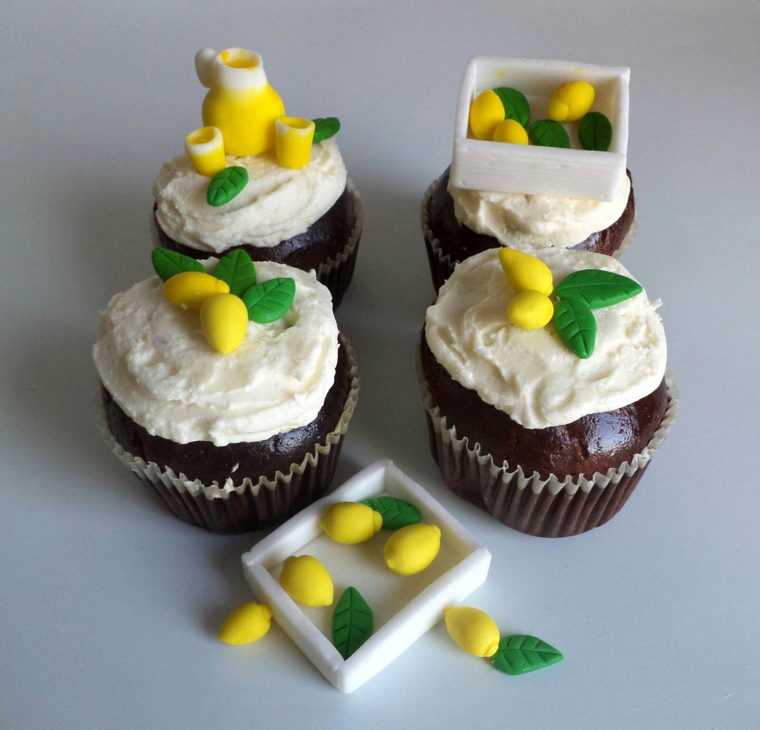 Fondant Small Lemons And Leaves For Cupcake And Cake Toppers Etsy